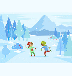 boy and girl playing snowball fight in winter vector image
