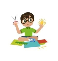 Boy In Glasses Preparing Details For Applique vector image