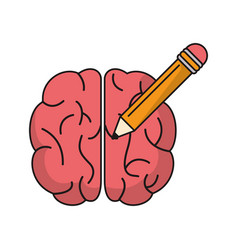 Brain idea pencil knowledge vector