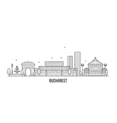 bucharest skyline romania city buildings vector image