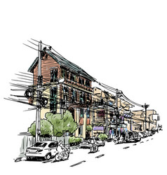 Buildings on street sketchbook at thailand vector