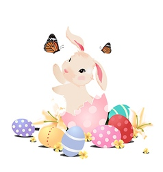 Bunny rabbit in the egg playing with butterfly vector image