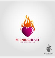 burning heart logo vector image