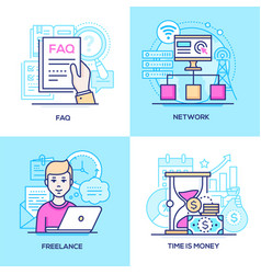 business - set line design style colorful vector image