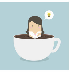 businesswoman thinking in a coffee cup vector image