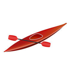 Canoe in red design with paddle vector