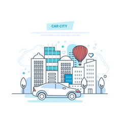 car city machine driving ride in park vector image