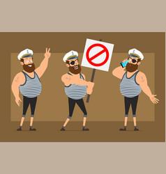 Cartoon flat fat sailor man character set vector