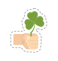 cartoon hand holding shamrock st patricks day vector image