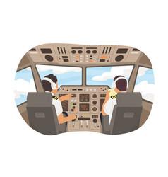 Cartoon male pilot cockpit plane with control vector