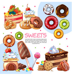cartoon sweet products template vector image