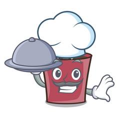 Chef with food hot chocolate mascot cartoon vector