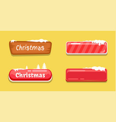 Christmas glossy web push buttons covered by snow vector