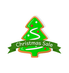christmas sale price tag gingerbread xmas tree vector image