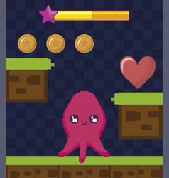 Classic video game scene with octopus mutant vector