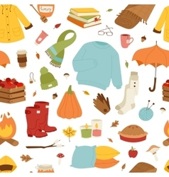 Collection of autumn items vector