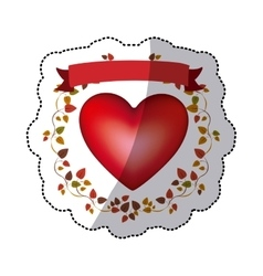 Colorful sticker with heart and ribbon with vector