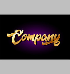 company 3d gold golden text metal logo icon vector image