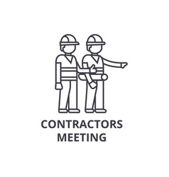 Contractors meeting line icon sign vector