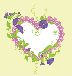 Convolvulus Flowers bouquet and lace heart vector image