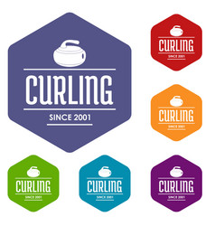 Curling icons hexahedron vector