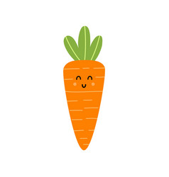 cute carrot character isolated element vector image