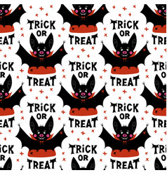 Cute cartoon vampire bat and trick or treat vector
