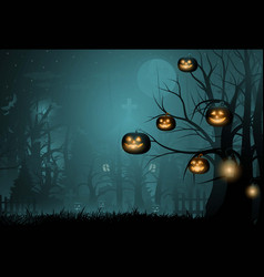 dark cute halloween pumpkins and big tree vector image