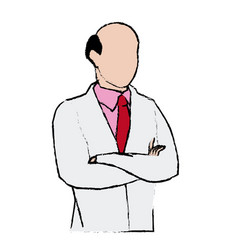 Doctor male bald with arms folded vector