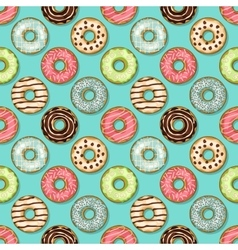 Donuts seamless pattern on blue background vector