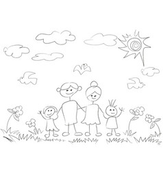 Doodle happy family background vector