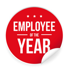 employee of the year label sticker vector image