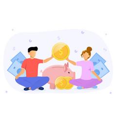 Family budget concept wit couple doing finances vector