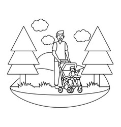 father with bacarriage vector image