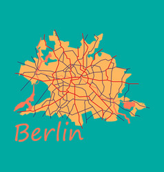 Flat berlin city map with boroughs silhouette vector