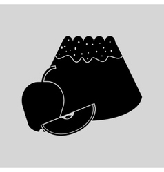 Flat in black and white bun with apple vector