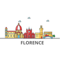 florence city skyline buildings streets vector image