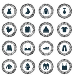 garment icons set with slipper shirt pullover vector image
