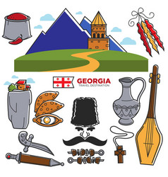 Georgia travel and tourism famous georgian culture vector