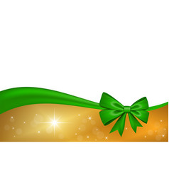 Gold gift card with green ribbon bow isolated on vector