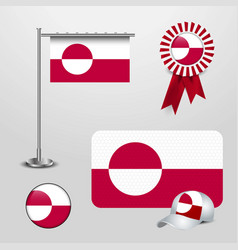 greenland country flag haning on pole ribbon vector image