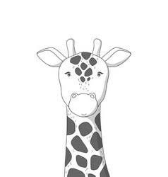 Hand drawn giraffe poster for baroom vector