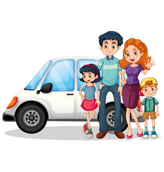 Happy family in front car vector