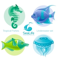 Icon set with tropical fishes - angel fish green vector