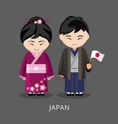 japanese in national dress with a flag vector image
