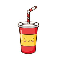 Kawaii cartoon soda cup vector