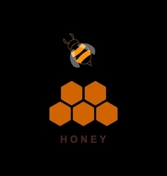 Label for products with bee and honeycomb vector image