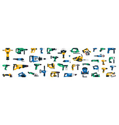large collection construction power tools vector image