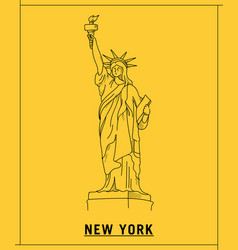 liberty of statuehand drawn sketch vector image