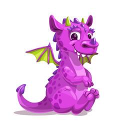 Little cute cartoon purple baby dragon vector